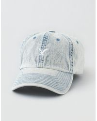 85fb3430e8b Lyst - American Eagle Ae Washed Denim Strapback Hat in Blue for Men