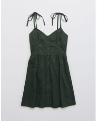 American Eagle Linen Corset Dress - Green