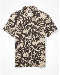 American Eagle Tropical short-sleeve button-up shirt - Schwarz