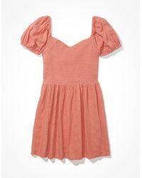 American Eagle Solid Eyelet Puff-sleeve Mini Dress - Dresses - Pink