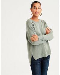 American Eagle - Ae Split Hem Drop Shoulder Sweatshirt - Lyst