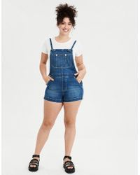 0de03977b690 American Eagle - High-waisted Denim Short Overall - Lyst