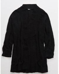 American Eagle Distressed Chenille Cardigan - Black