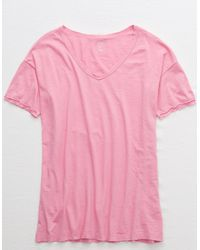 American Eagle Oversized V-neck Distressed Boyfriend T-shirt - Pink