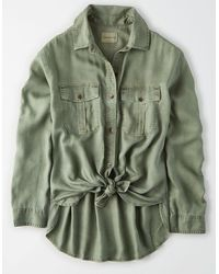 American Eagle Oversized Military Button Up Shirt - Green