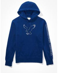 American Eagle Super soft fleece graphic hoodie - Blau