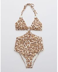 American Eagle Leopard Cut Out Ring One Piece Swimsuit - Multicolour