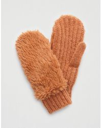 American Eagle Sherpa Knit Mittens - Brown