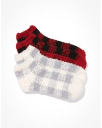 American Eagle Plaid Ankle Socks 2-pack - Red