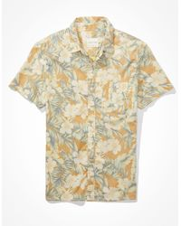 American Eagle Floral Short-sleeve Button-up Shirt - Yellow