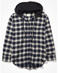 American Eagle Plaid Flannel Hooded Button Up Shirt - Blue