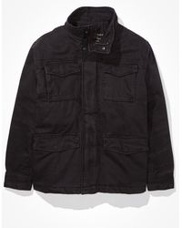 American Eagle Sherpa Lined Military Jacket - Outerwear - Men - Black