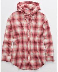 American Eagle Flannel Hooded Shirt - Red