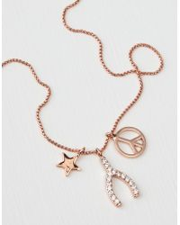 American Eagle - Rose Gold Wishbone Necklace - Lyst
