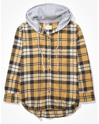 American Eagle Plaid Flannel Hooded Button Up Shirt - Yellow
