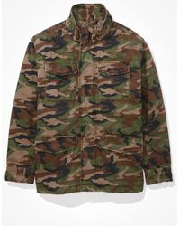 American Eagle Sherpa Lined Military Jacket - Outerwear - Men - Green