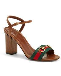 Gucci 'Liliane' Sandal green - Lyst