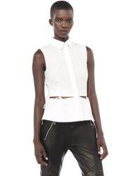 Alexander Wang | Sleeveless Collared Peplum Shirt With Waist Ties | Lyst