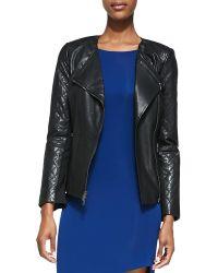 DKNY Lambskin Leather Zip-front Moto Jacket - Lyst