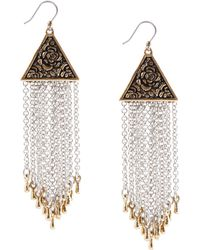 Lucky Brand - Two-Tone Modern Metals Chain Earrings - Lyst