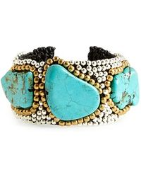Panacea - Turquoise Beaded Cuff - Turquoise - Lyst