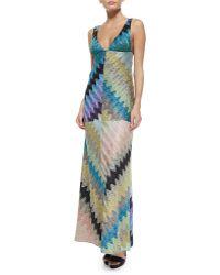 Missoni Deep V-Neck Bias Zigzag Gown multicolor - Lyst