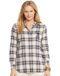 Lauren by Ralph Lauren Plus Embroidered-pocket Plaid Shirt - Lyst