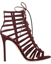 Gianvito Rossi Caged Lace-Up Sandals purple - Lyst