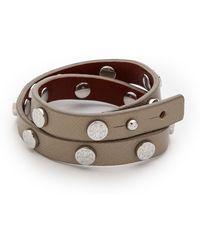 Tory Burch Double Wrap Logo Stud Bracelet Taupetory Silver - Lyst
