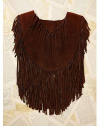 Free People Womens Vintage Roughout Suede Fringe Poncho - Lyst