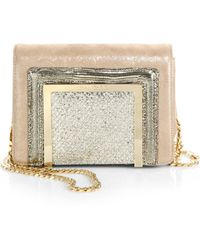 Jimmy Choo Ava Glitter Suede, Embossed Leather & LamÉ Mini Shoulder Bag - Lyst