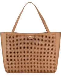 Tory Burch Romi Woven Leather Tote Bag Tan - Lyst