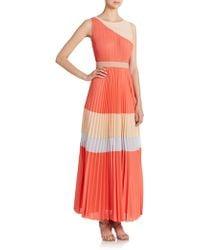 BCBGMAXAZRIA Calie Pleated Colorblock Gown - Lyst