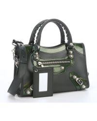 Balenciaga Green Patent Leather And Leather Convertible Top Handle Mini Tote - Lyst