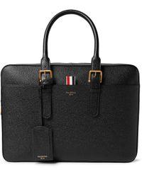 Thom Browne Pebble-grain Leather Briefcase - Black