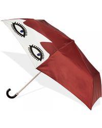 Lulu Guinness Superslim Doll Face Umbrella brown - Lyst