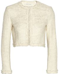 Alice + Olivia Cropped Metallic Tweed Jacket - Lyst