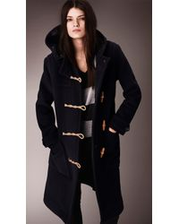 Burberry Long Wool Blend Duffle Coat in Blue | Lyst