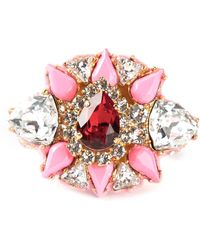 Shourouk Galaxy Gold-tone, Crystal And Enamel Two-finger Ring - Metallic