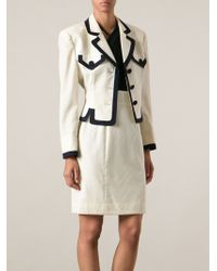 Moschino Contrast Trim Skirt Suit - White