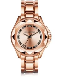 Karl Lagerfeld | Iconic Rose Glod Stainlees Steel Unisex Watch | Lyst