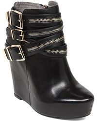 BCBGeneration - Anders Leather Zip Wedge Booties - Lyst