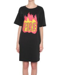 Love Moschino Cotton Jersey Dress With Fire Print - Lyst