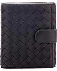 Bottega Veneta Intrecciato Flap-Front Mini Wallet black - Lyst