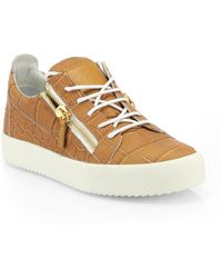 Giuseppe Zanotti Leather Croc-Embossed Low-Top Sneakers - Lyst