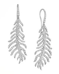 Mimi So - Phoenix 18k White Gold Diamond Feather Earrings On Wire - Lyst