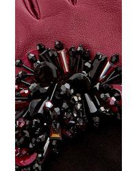 Oscar de la Renta Bordeaux Paillette-embroidered Gloves