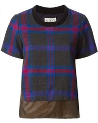 Sea Check Pattern T-shirt - Lyst