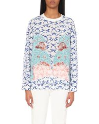 Stella McCartney Cloud-Print Floral-Appliqué Silk Top - Lyst