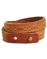 Frye - 'campus Stitch' Leather Wrap Bracelet - Saddle - Lyst